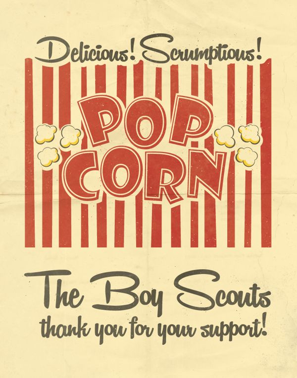 Boy Scouts Popcorn Sign by Devin Golden, via Behance