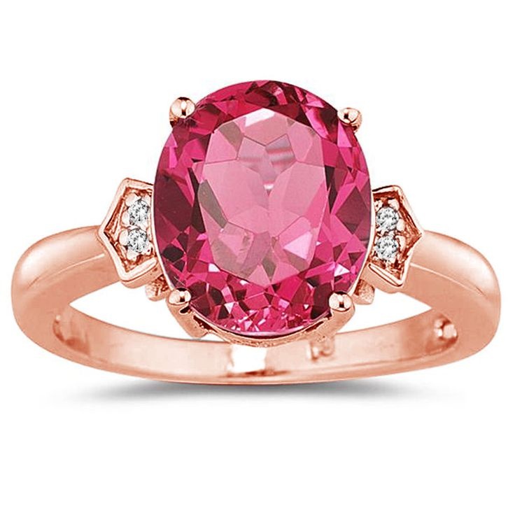 4 1/2 Carat Pink Topaz & Diamond Ring in 14K Rose Gold #SzulJewelry