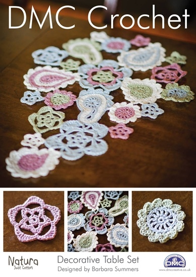 Barbara Summers has created a Decorative Table Set - arranged as a paisley table centre with matching coasters.  Pattern available from DMC stockists.