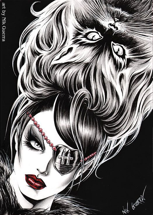Original Nik Guerra art illustration / Magenta - Those who play with cats / super sexy cartoon pin up black white red erotic diva comics