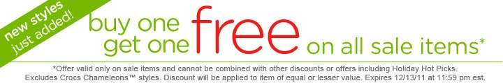 CROCS.com - Buy one Get one FREE on all their sales items. Not sure when it expires...