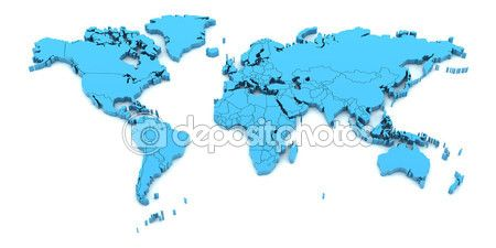 Detail world map with national borders, 3d render — Stock Image #68976203