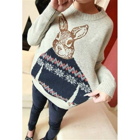 Knitting Sweater with Rabbit Patten - Gray  $12.34