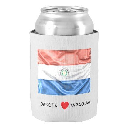#Custom I Heart Flag of Paraguay Can Cooler - #travel #trip #journey #tour #voyage #vacationtrip #vaction #traveling #travelling #gifts #giftideas #idea