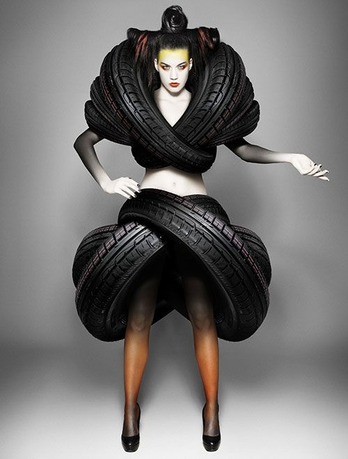 Mierswa & Kluska - Fashion Photography - Recycled Dresses -Rubber Tyres Rather unusual shape...