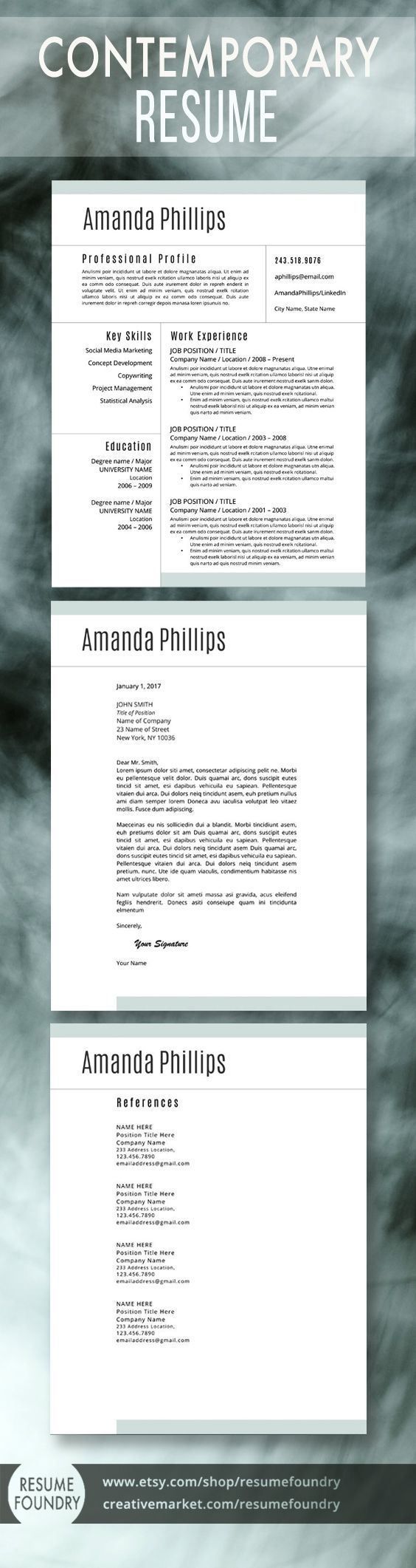Chronological Resume Samples%0A Beautiful modern resume template by Resume Foundry  One  two or three page  resume  Cover Letter  Reference Page  Use in Microsoft Word
