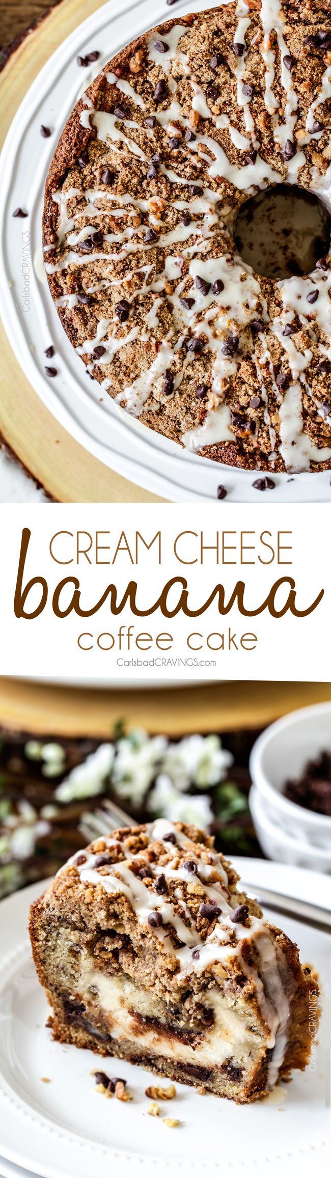 The best Banana ANYTHING ever! Moist Banana Bread Coffee Cake riddled with chocolate chips and walnuts (optional) with an INCREDIBLY creamy cheesecake-like cream cheese filling all topped with brown sugar walnut streusel and vanilla drizzle.