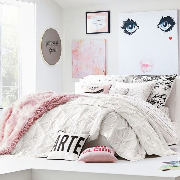 PB Teen Isabella Rose Taylor Geo Textured Quilt, Twin, White ($127) ❤ liked on Polyvore featuring home, bed & bath, bedding, quilts, pbteen, white twin bedding, white quilted shams, white bed linen and pbteen bedding