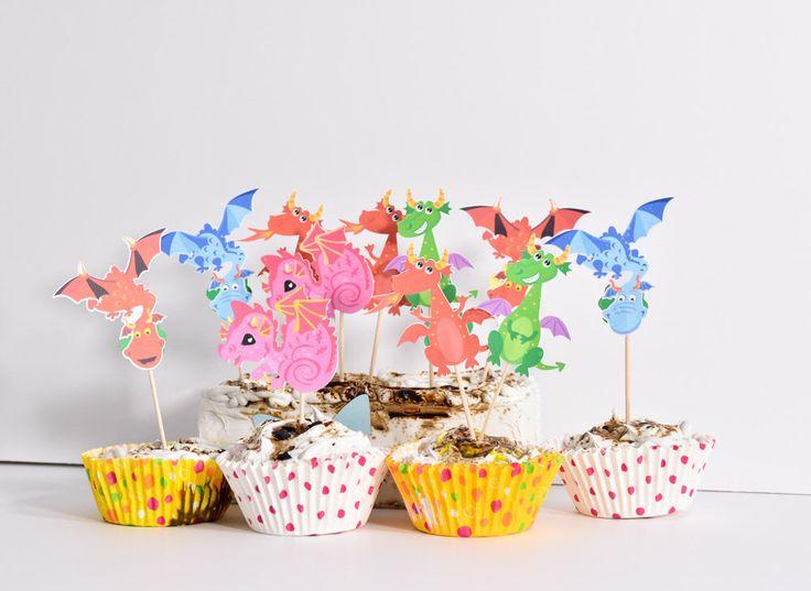 12 Dragon Cupcakes - Dragon Baby Shower Decoration - Dragon Birthday Cake Toppers - Dragon Baby Shower Cake Toppers - Dragon Party Decor by ArtPaperWonders on Etsy https://www.etsy.com/listing/274299946/12-dragon-cupcakes-dragon-baby-shower