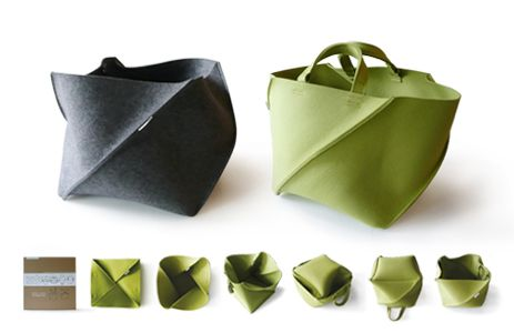 Felt folding bag by Aika Urata, a japanese designer