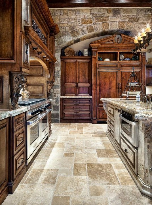 Top 20 Most Beautiful Wooden Kitchen Designs To Pin Right Now - 5. MASSIVE WOOD AND NATURAL STONE FOR AN OPULENT DECOR