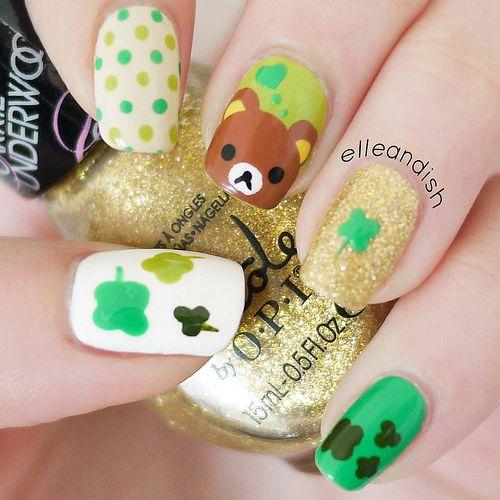 St. Patrick's Day Rilakkuma Nails // elleandish