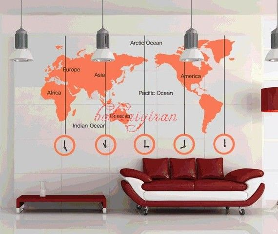 Map of the world removable home decor mural vinyl by babaaiyiran, $32.00