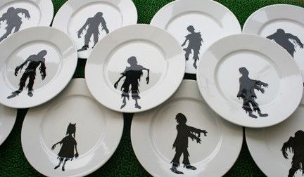 What Halloween meal would be complete without these zombie silhouette plates?