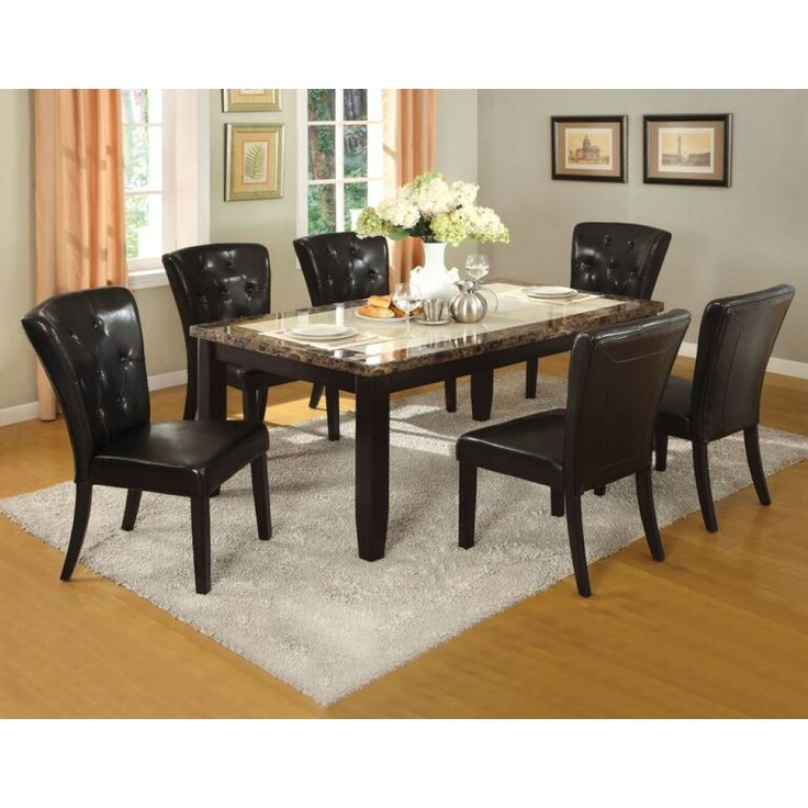 Lovely Furniture Of America Belleview I Faux Marble Top Dining Table Set In Black  Finish