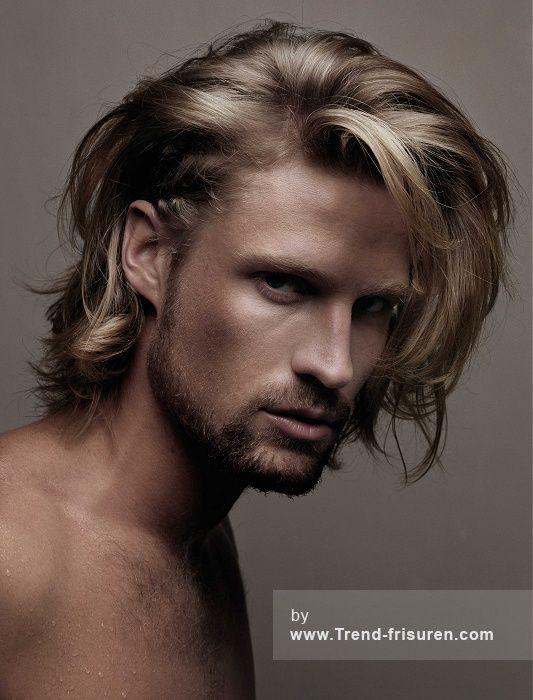 JOHN CARNE Lange Blonde Männlich Gerade Farbige Herren Frisuren hairstyles