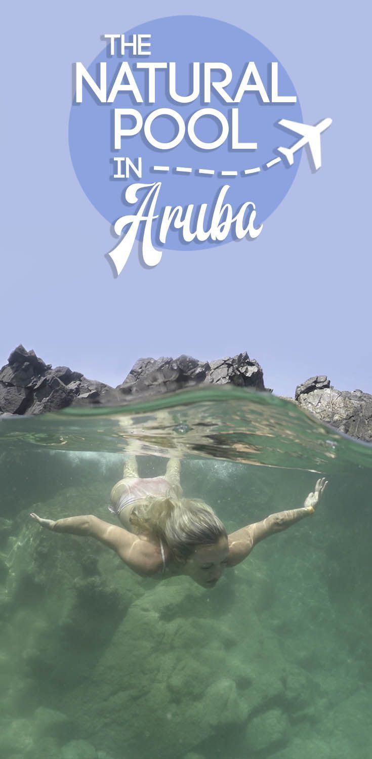 Swimming in Aruba's gorgeous pool, the Natural Pool in Aruba! Everything you need to know about the adventure getting there, is it safe to swim, and much more. #Aruba #DiscoverAruba #NaturalPool #Caribbean via @gettingstamped