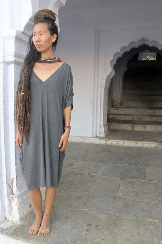 Loose Fitting DressV Neck Dress Womens Clothing by UrbanicTribe
