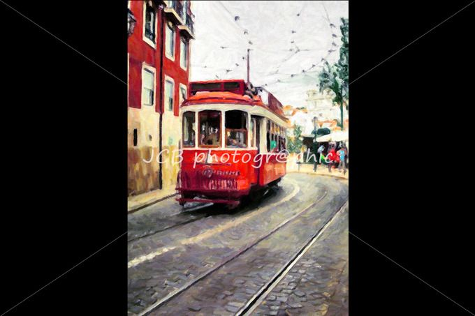 Oil painting, driving tramway by JCB Photogr@phics on @creativemarket