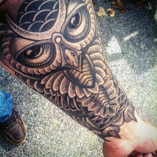 Forearm Sleeve Black Owl Tattoo For Males