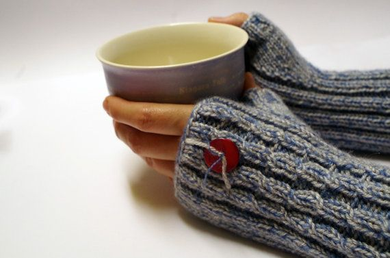 Arm warmers (fingerless gloves, hand warmers), blue & gray (for women)