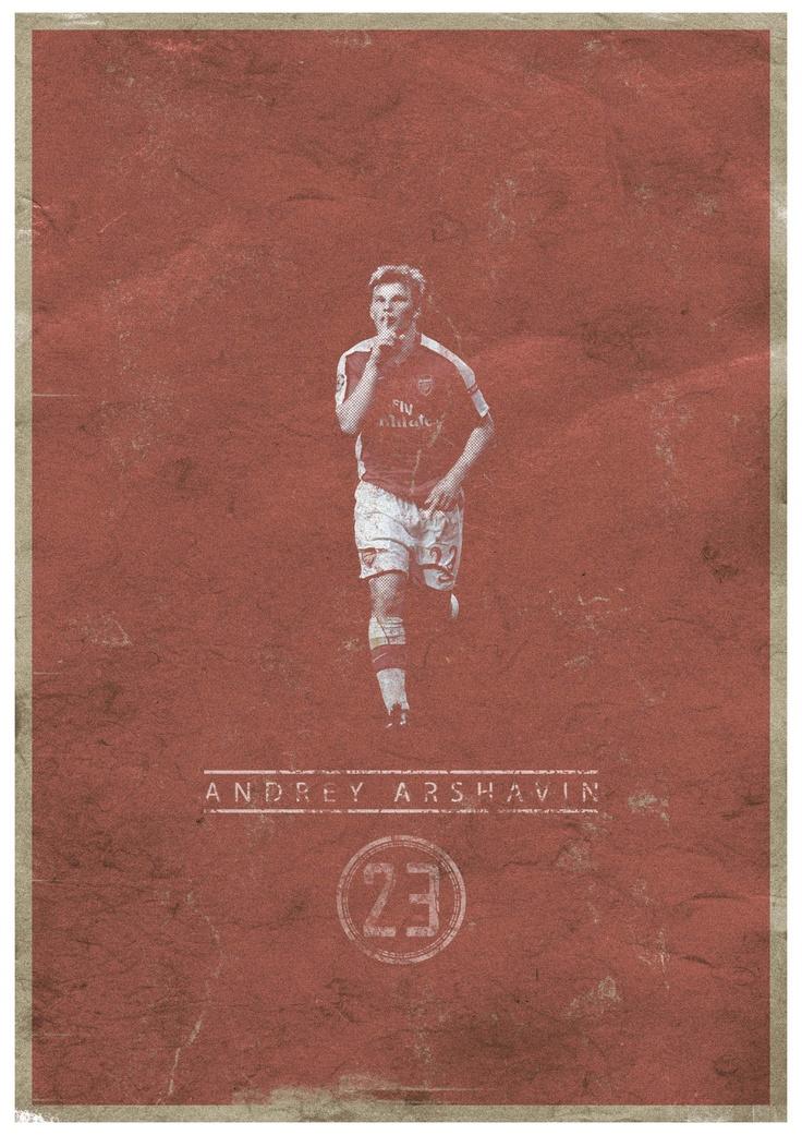 #marcograndis #poster #graphic #illustration #vintage #arshavin #football #soccer #arsenal