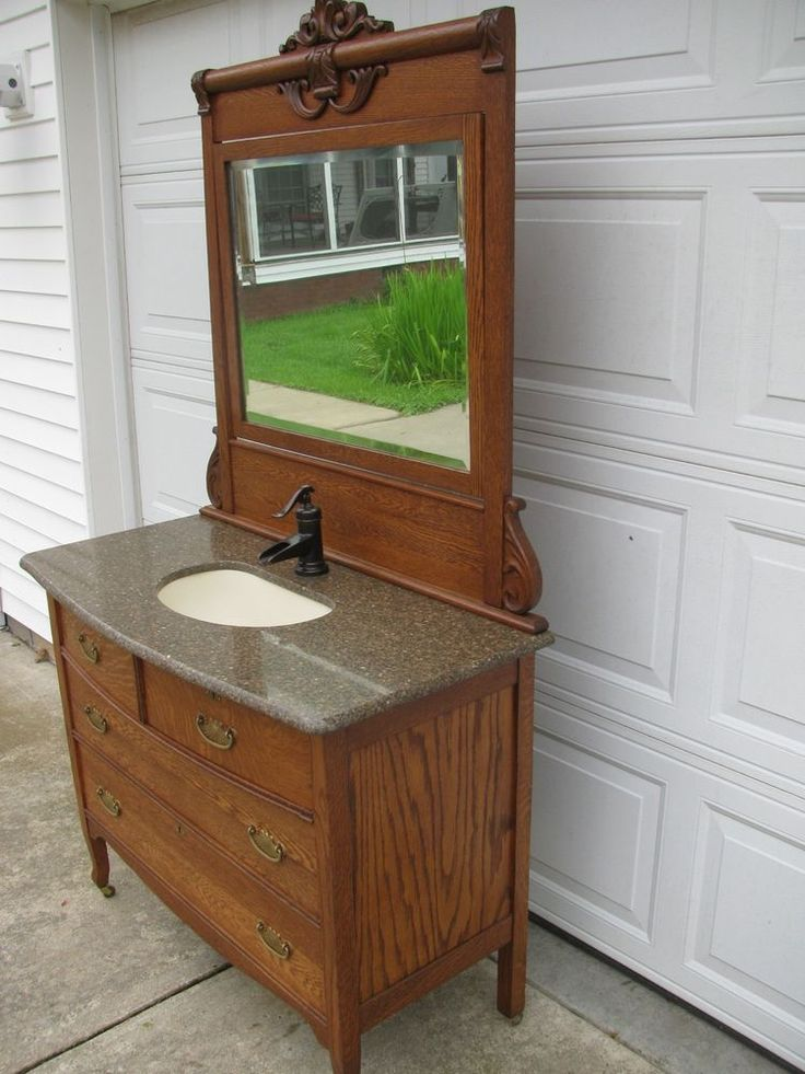 Antique Oak Vanity / Dresser w/ Transolid Sink /Pfister Bronze Faucet - 191 Best Dressers Antique Images On Pinterest DIY, Boots And Crafts
