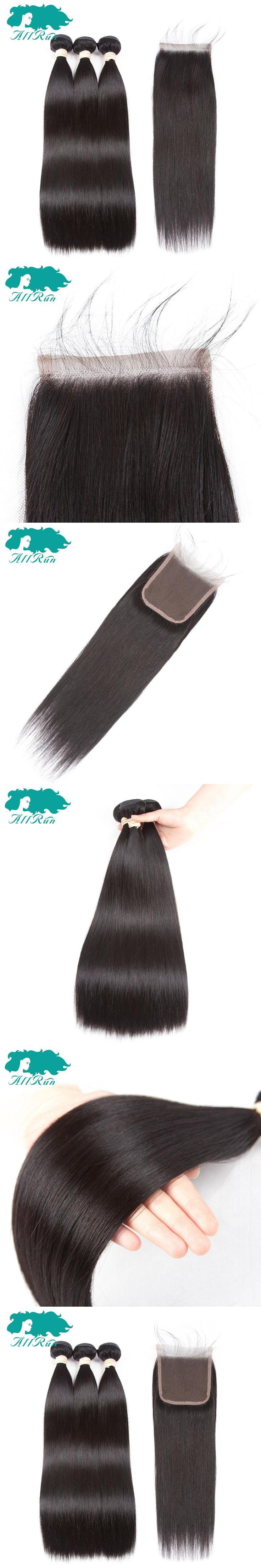 Allrun Pre-Colored Peruvian Straight Hair 2/3pcs With 4*4 Lace Closure 100% Human Hair Weave Soft Peruvian Hair Extensions
