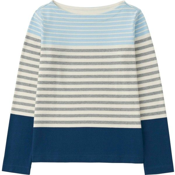 UNIQLO Women Striped Boat Neck Long Sleeve T-Shirt (350 MXN) ❤ liked on Polyvore featuring tops, t-shirts, boatneck tee, striped boatneck tee, long sleeve tee, thick t shirts and striped tee