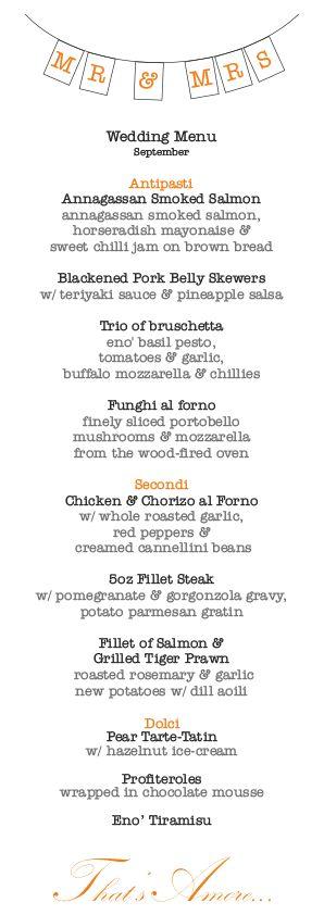 eno' sample wedding menu €45 pp #eatateno  www.eno.ie
