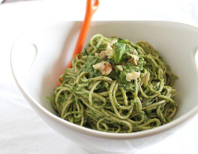 ... vegan arugula pesto. Didn't have walnuts...so pistachios it was