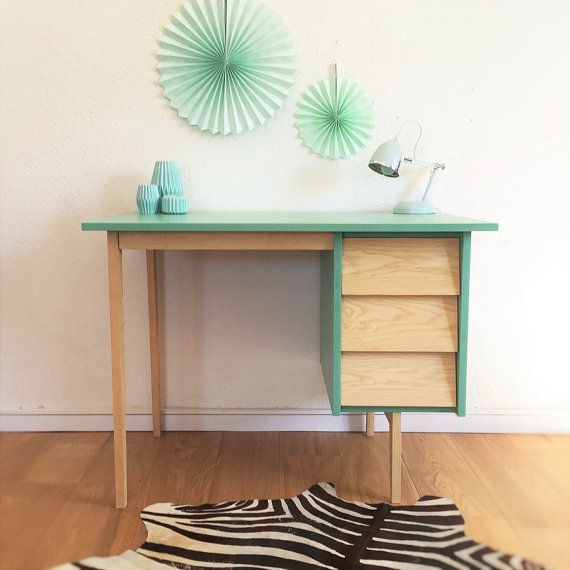 VENDITA - scrivania, tavolo da lavoro, ristampato, vintage verde ispirato e scandinavo, colore, modello Theodore