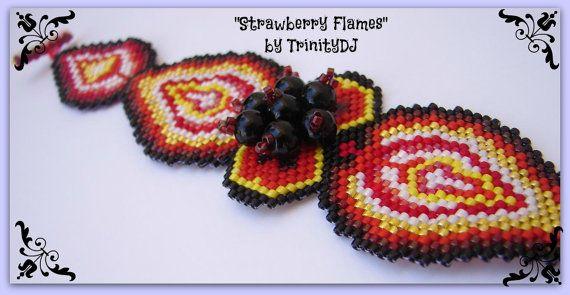 BP-BR-076 - Çilek Flames - Şekilli Tuğla Dikiş Beadwork Desen, tohum boncuk takı, beadweaving öğretici, boncuklu bilezik, bilezik desen