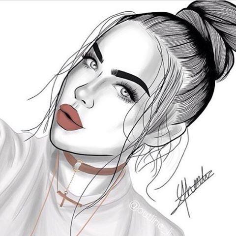 outlines, outline, tumblr girl, draw, drawing, art, black and white, lovely, girl