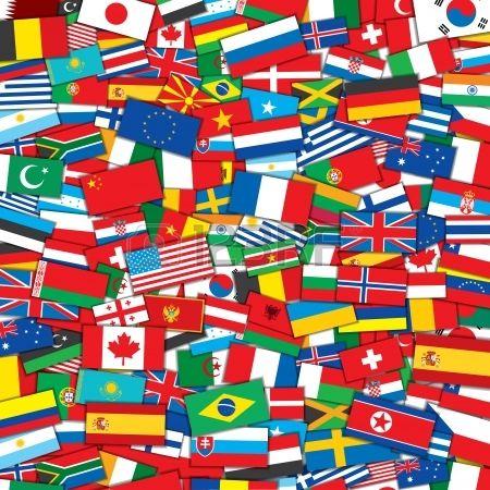 Hintergrund aus verschiedenen Flaggen der Welt. EPS10 Vector Design-Vorlage Stockfoto
