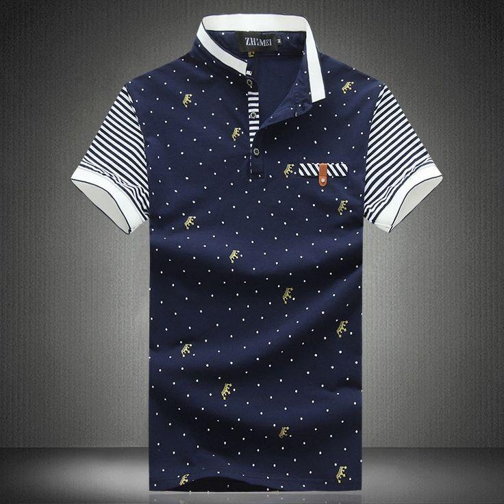Men's Polo Shirts, 100% cotton Short Sleeve Slim Fit Plus Size High Quality
