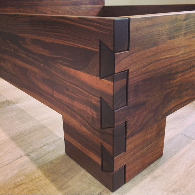 Demko's luxury 100% American Black Walnut - Prince bed frame made using dovetail joints.