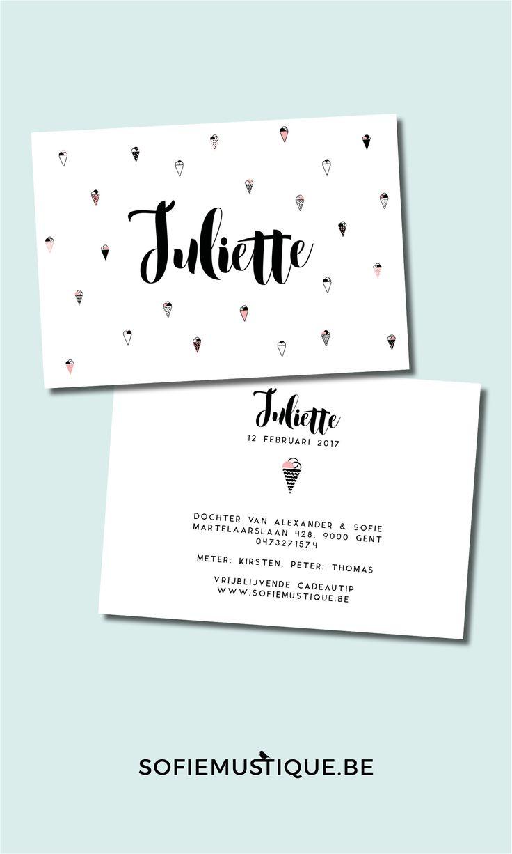 Geboortekaartje Juliette - ijsjes, roze, zwart, wit, moderne kalligrafie, modern calligraphy, strak, letterpress, sofiemustique.be