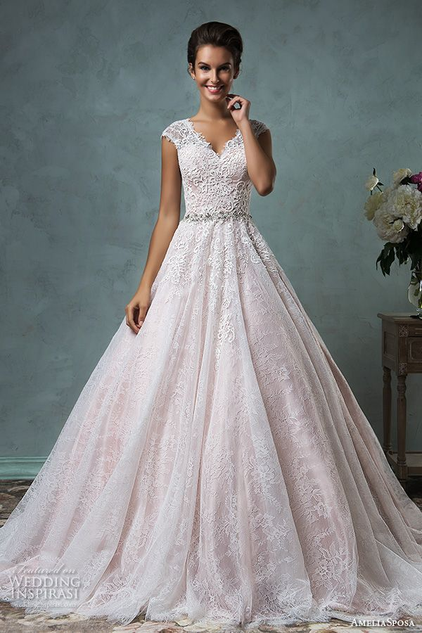 amelia sposa 2016 wedding dresses lace cap sleeves  v neckline embroidered lace bodice gorgeous pink a line ball gown wedding dress dominica
