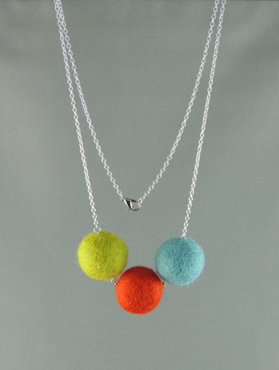 Hey, I found this really awesome Etsy listing at https://www.etsy.com/listing/177530307/bright-colourful-trio-felt-necklace-blue
