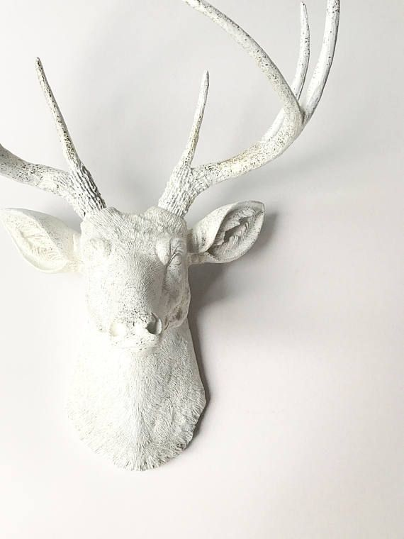Gold Speckles On White Deer Head Faux Taxidermy Wall Mount Stag Head Wall Hanging Faux Animal Head Custom E White Deer Heads Faux Animal Head Deer Heads Wall