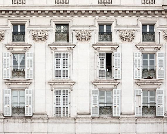 French Windows, Travel Photography, South of France, Fine Art Print, Winter White, Shabby Chic, Home Decor - Les Fenetres