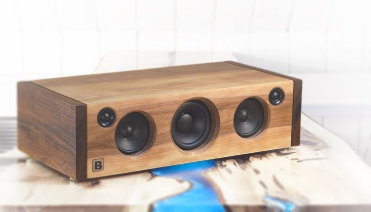 Model 5C is a powerful handmade high-end Bluetooth audio system.  Made of tiger wood and birch. 160 watts of audio power. By PlanB Audio