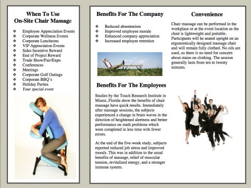 chair massage. Brochure And Client Forms: Chair Massage
