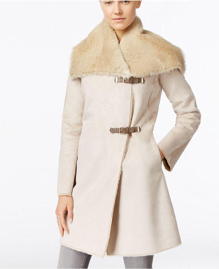Calvin Klein Faux-Shearling Buckled Walker Coat