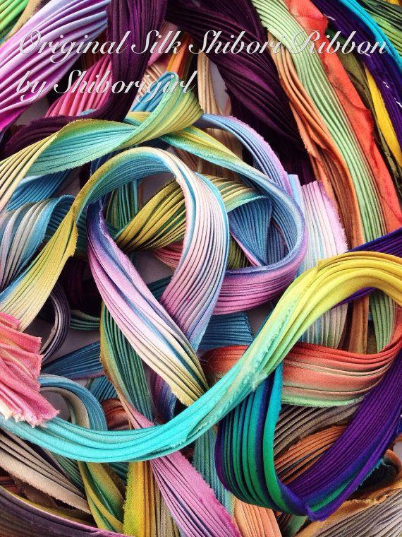 Silk Shibori Ribbon Scrap bags by shiborigirl on Etsy, $22.00
