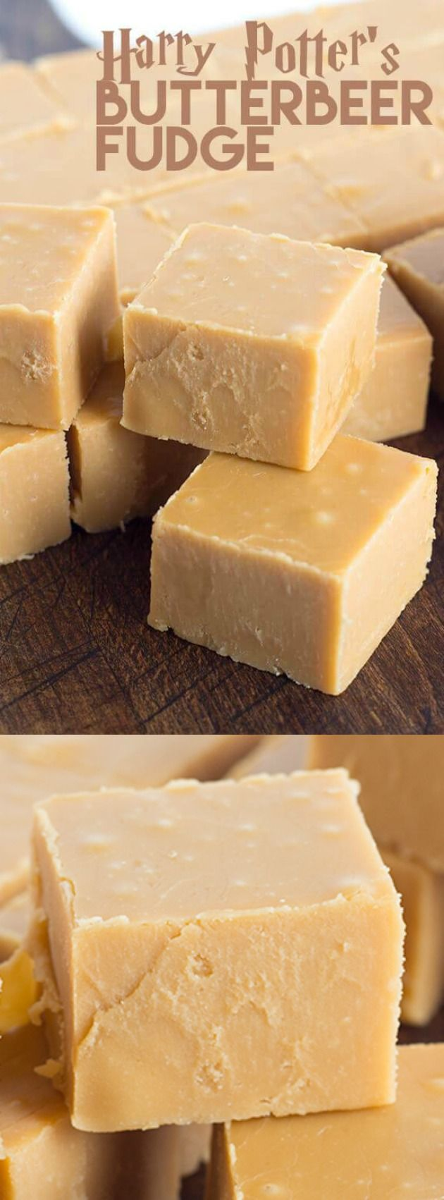 This Harry Potter's Butterbeer Fudge recipe from Cookie Dough and Oven Mitt is unlike any fudge that you've had before. It's smooth, creamy, and has an amazing flavor from the butter rum and butterscotch!