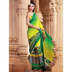 Chic Green and Yellow Printed Saree in Affordable Price.