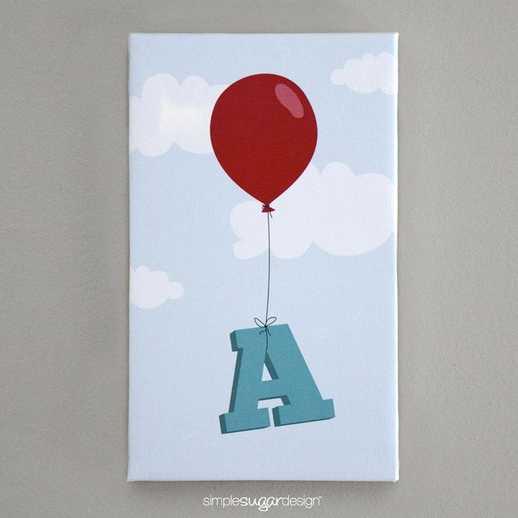 """ENTER TO WIN!!  6""""x10"""" 'Balloon Initial' gallery wrapped canvas print from Simple Sugar Design"""