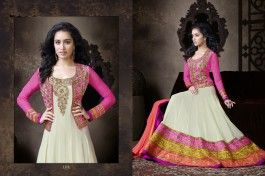 Shraddha Kapoor In White Anarkali- white floor length anarkali, designer collection 2014, eid collection, buy anarkali online, buy floor length designer dress online, indian dress, indian wearable dress